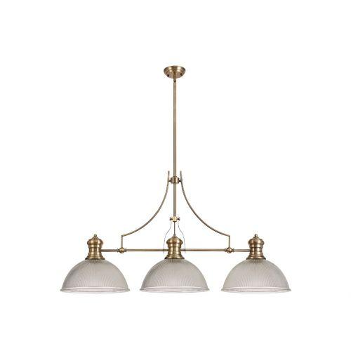 Linear Bar Pendant 3 Light Dome Glass Shade Antique Brass/Clear Lekki Larson LEK4153