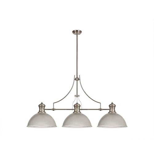 Linear Bar Pendant 3 Light Dome Glass Shade Polished Nickel/Clear Lekki Larson LEK4165
