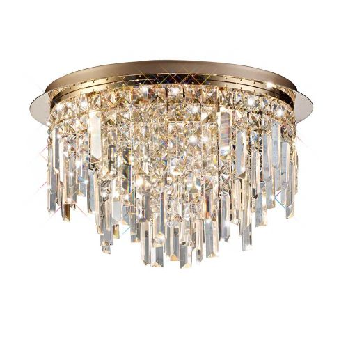 Diyas IL31711 Maddison Ceiling Round 6 Light G9 Rose Gold/Crystal