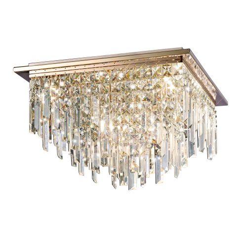 Diyas IL31712 Maddison Ceiling Square 6 Light G9 Rose Gold/Crystal