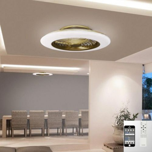 Mantra Alisio Medium Gold Ceiling Fan 70W LED Light Dimmable Remote Controlled M6707