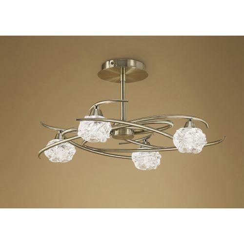 Mantra M4073 Maremagnum 4 Light Semi-Flush Ceiling Fitting G9 Antique Brass