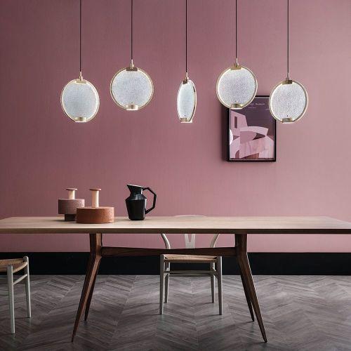 Masiero Horo 5 Light LED Hanging Glass Ceiling Pendant HORO-S5-TR