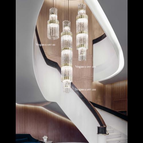 Masiero Vegas LED Glass Chandelier Champagne Leaf MAS/VEGAS-S-VRT-140