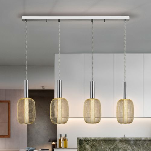 Schuller Micron 413756 LED 4 Light Bar Pendant Chrome and Gold