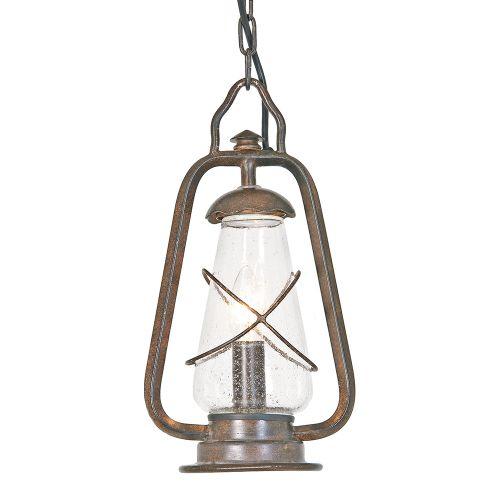 Elstead Miners Chain Wrought Iron 1 Light Outdoor Pendant Lantern Old Bronze