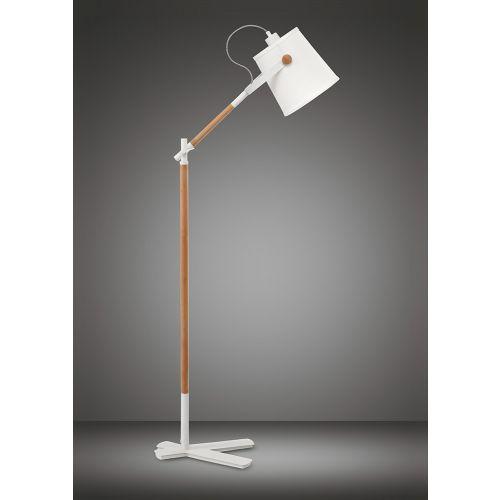 Mantra M4920 Nordica Floor Lamp White Shade 1 Light E27 Matt White Beech Ivory White Shade