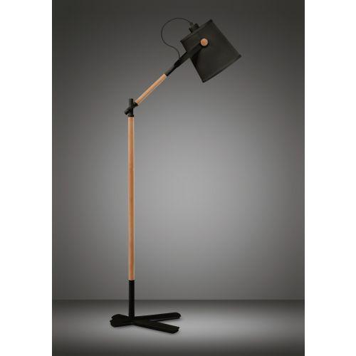 Mantra M4921 Nordica Floor Lamp Black Shade 1 Light E27 Matt Black Beech Black Shade