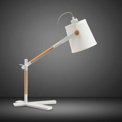Mantra M4922 Nordica Table Lamp White Shade 1 Light E27 Matt White Beech Ivory White Shade