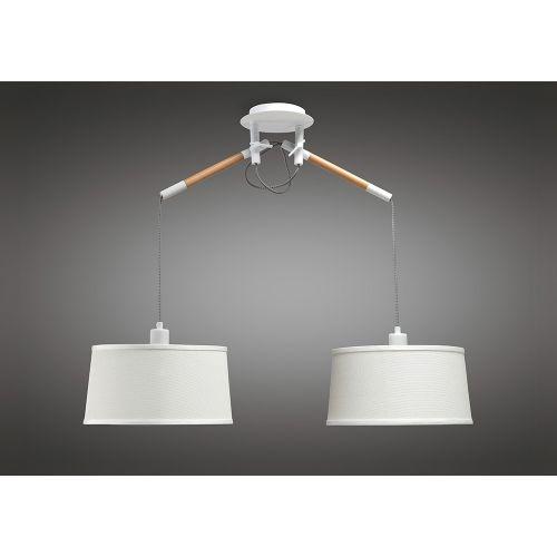 Mantra M4930 Nordica Pendant White Shade 2 Light E27 Matt White Beech Ivory White Shades