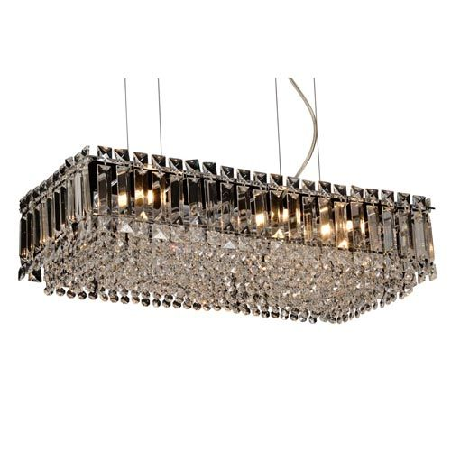 Impex Alvery 8Lt Polished Chrome Rectangular Ceiling Pendant Clear Crystal