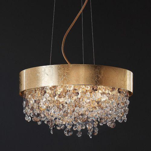 Masiero Ola Ceiling Small 40cm Pendant 6 x E14 Gold Leaf Amber Colours OLA-S6-40-F01