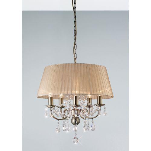 Diyas IL30047 Olivia Pendant Soft Bronze Shade 5 Light Antique Brass Crystal