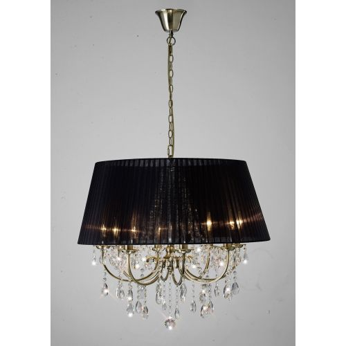 Diyas IL30057/BL Olivia Pendant Black Shade 8 Light Antique Brass Crystal