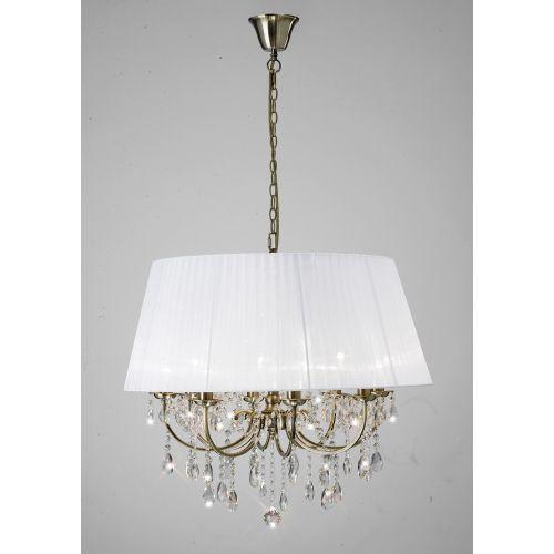 Diyas IL30057 Olivia Pendant White Shade 8 Light Antique Brass Crystal