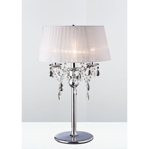 Diyas Olivia 3 Light Table Lamp Polished Chrome White Shade IL30062WH