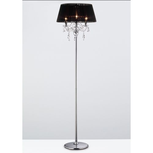 Diyas IL30063 Olivia Floor Lamp Black Shade 3 Light Polished Chrome Crystal