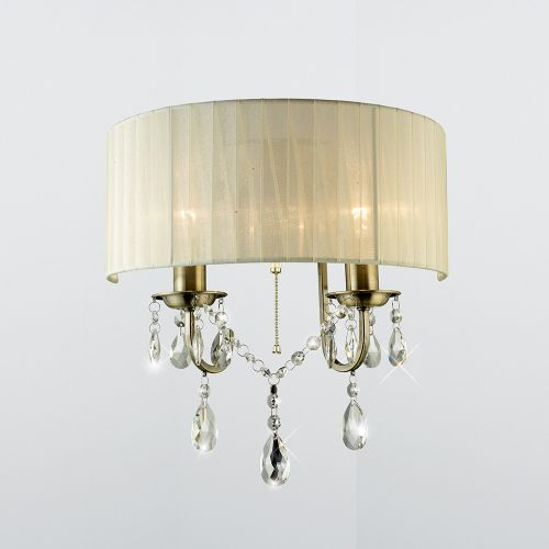Diyas IL30064 Olivia Wall Light Switched Ivory Cream Shade 2 Lt Antique Brass Crystal