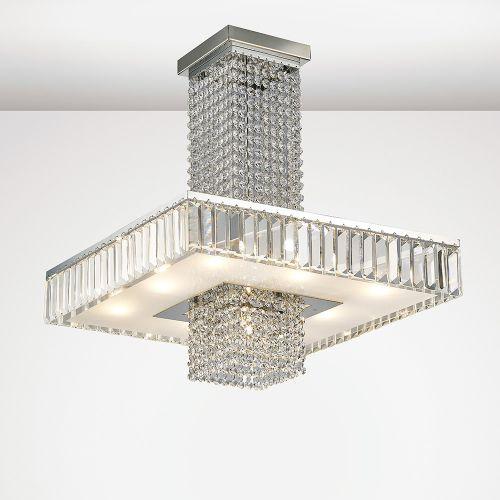Diyas IL31551 Ophelia Crystal 9 Light Semi Flush Ceiling Fitting Polished Chrome Frame