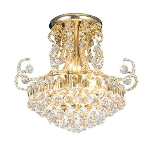 Diyas Pearl Ceiling 9 Light French Gold/Crystal IL30006