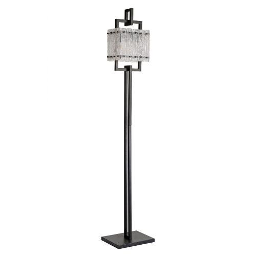 Floor Lamp 2 Light E27 Matt Black/Crystal Sand Glass Pedersen LEK3513