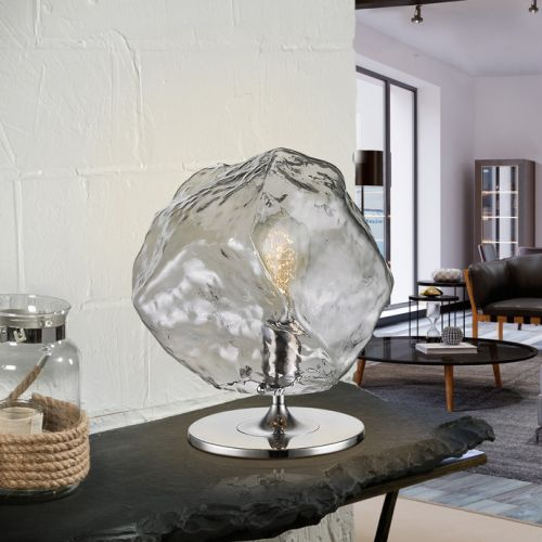 Schuller Petra 213547UK 1 Light Table Lamp Smoked Glass Chrome Frame