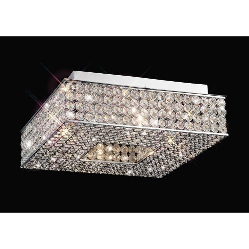 Diyas IL30431 PiazzaCrystal 4 Light Flush Square Ceiling Fitting Polished Chrome Frame