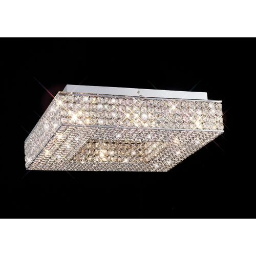 Diyas IL30432 Piazza Crystal 8 Light Flush Square Ceiling Fitting Polished Chrome Frame