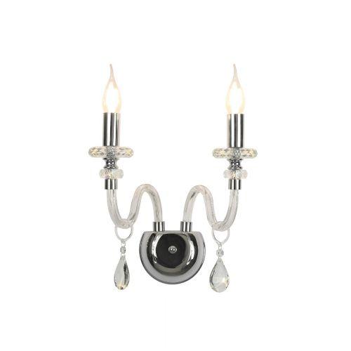 Wall Lamp 2 Light Polished Chrome/Clear Glass/Crystal Pilton LEK3380