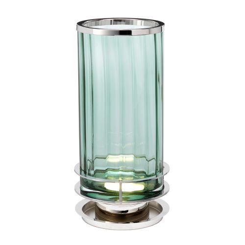 Arno Table Lamp Polished Nickel Green Glassware Quintessentiale QN-ARNO-GREEN-PN
