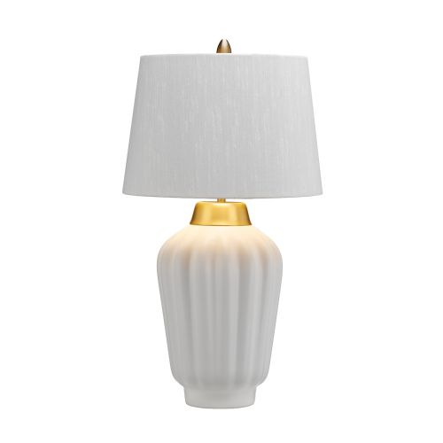 Bexley 1 Light Table Lamp White Brushed Brass Quintessentiale QN-BEXLEY-TL-WBB