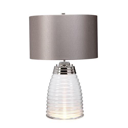 Milne Table Lamp Grey Metalwork Polished Nickel Glassware Clear Quintessentiale QN-MILNE-TL-GREY