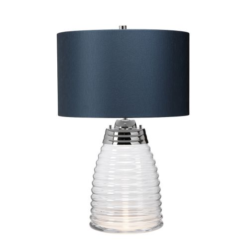Milne Table Lamp Teal Metalwork Polished Nickel Glassware Clear Quintessentiale QN-MILNE-TL-TEAL