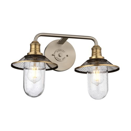 Rigby 2 Light Wall Bracket Antique Nickel with Heritage Brass IP44 Quintessentiale QN-RIGBY2-BATH-AN