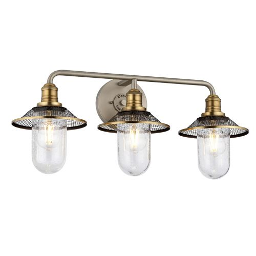 Rigby 3 Light Wall Bracket Antique Nickel with Heritage Brass IP44 Quintessentiale QN-RIGBY3-BATH-AN