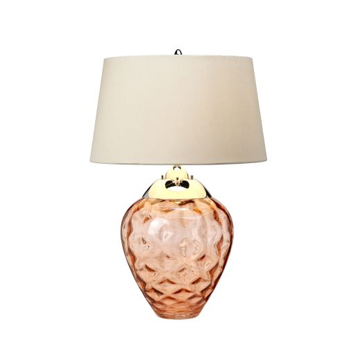 Samara Table Lamp Polished Nickel Glassware Salmon Quintessentiale QN-SAMARA-TL-SLM