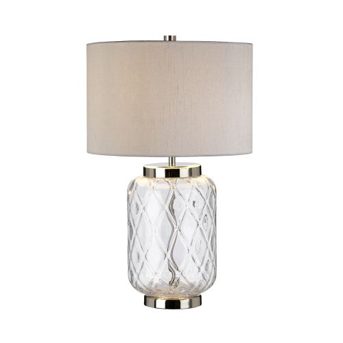 Sola 1 Light Table Lamp Polished Nickel Glassware Clear Quintessentiale QN-SOLA-TL-S-BASEONLY