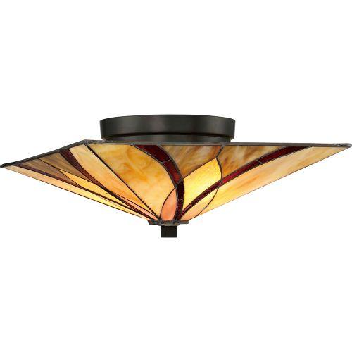 Quoizel QZ/ASHEVILLE/F Asheville 2Lt Tiffany Valiant Bronze Ceiling Flush