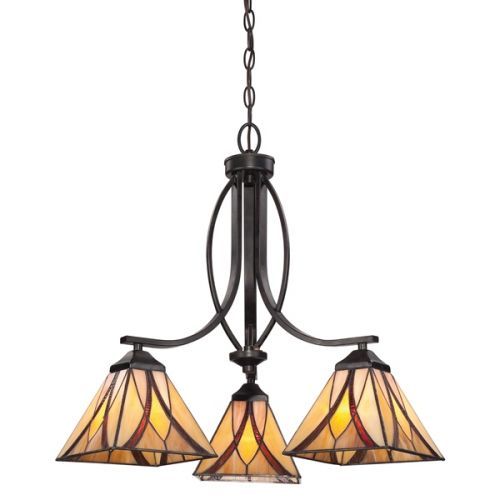 Quoizel QZ/ASHEVILLE3 Asheville 3Lt Tiffany Anvil Iron Ceiling Pendant