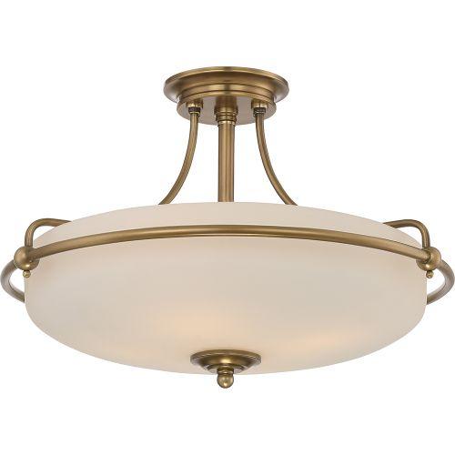 Quoizel QZ/GRIFFIN/SFMWS Griffin 4Lt Weathered Brass Ceiling Semi-Flush