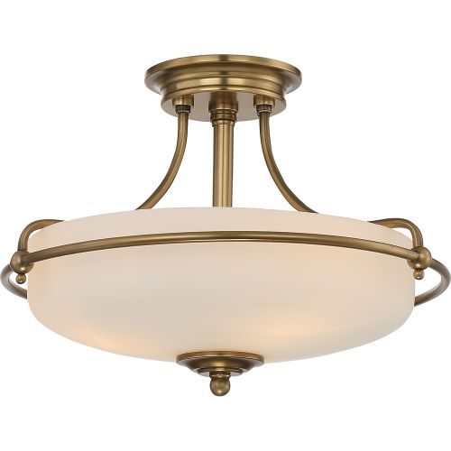 Quoizel QZ/GRIFFIN/SFSWS Griffin 3Lt Weathered Brass Ceiling Semi-Flush