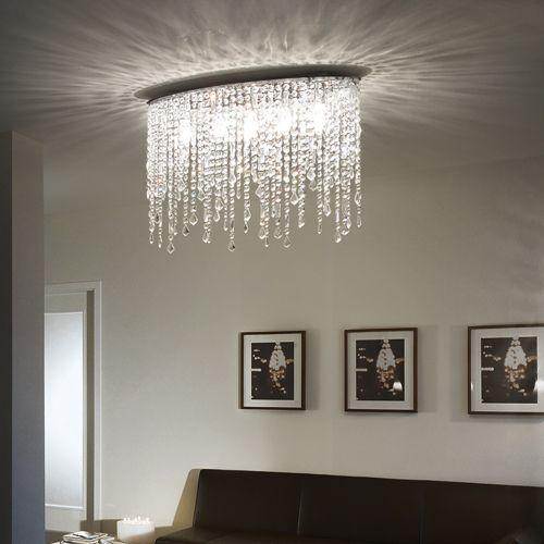 Ideal Lux 008455 Rain 5Lt Chrome Flush Crystal Ceiling Fitting