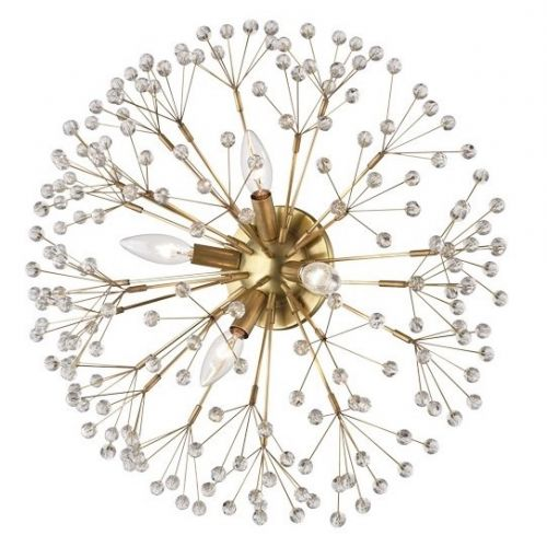 Crystal Wall/Ceiling Flush Light Aged Brass Hudson Valley Dunkirk 6000-AGB-CE