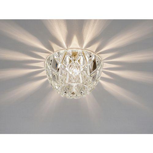 Diyas IL31843CH Ria G9 Diamond Faceted Round Downlight Polished Chrome Crystal 10.5cm Diameter