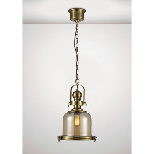 Diyas IL31593 Riley Single Small Bell Pendant 1 Light E27 Antique Brass Cognac Glass