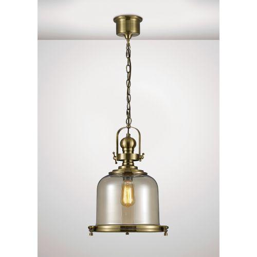 Diyas IL31594 Riley Single Medium Bell Pendant 1 Light E27 Antique Brass Cognac Glass