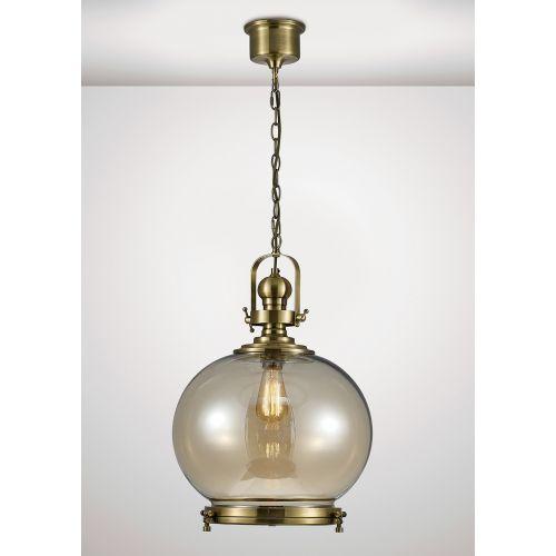 Diyas IL31598 Riley Single Large Ball Pendant 1 Light E27 Antique Brass Cognac Glass