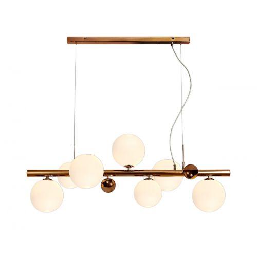 Linear Bar Pendant 7 Light Antique Copper/Opal & Copper Glass Rocco LEK3486