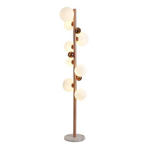Floor Lamp 8 Light Antique Copper/Opal & Copper Glass Rocco LEK3487