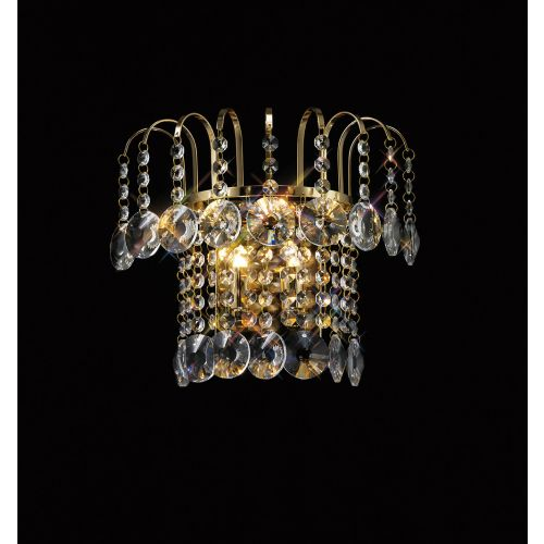 Diyas IL32052 Rosina Wall Lamp Switched 2 Light French Gold Crystal